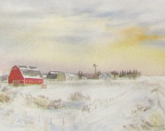 Red Barn/Prairie Winter, 1986, by Fritz Stehwien - Greeting Card (blank inside)
