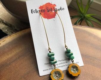 Long Yellow Czech Glass Flower Earrings