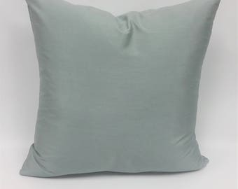 """Serenity - Spa, Faux Silk Toss Cushion Cover in Soft Spa Green - 20"""" x 20"""""""