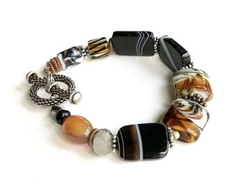 Animal Print Bohochic Beaded Bracelet Boutique Wearable Art Safari Luxe Tribal for Her Under 275 Free US Shipping Gift Wrap