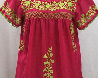 """Embroidered Peasant Blouse: """"La Marina Corta"""" in Raspberry PInk with Lime Green Embroidery ~ Size MEDIUM"""