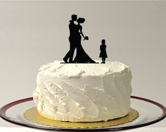 MADE In USA, Family Of 3 Silhouette Wedding Cake Topper Bride Groom + Child Bride Groom + Daughter Wedding Cake Topper Silhouette