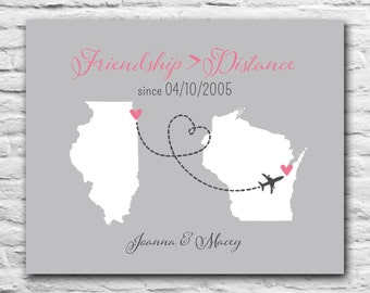 Best Friend Long Distance Print - Friendship Quote Heart State BFF Gift - Personalized Art Map - 8x10 - dotted line - State Map never apart