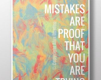 """16""""x20"""" Mistakes are proof that you are trying - Classroom poster, motivational poster, classroom decoration"""