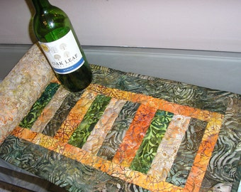 Quilted Table Runner, Batik Runner, Green, Brown, Orange and Yellow Batiks, 11 1/2 x 41 inches