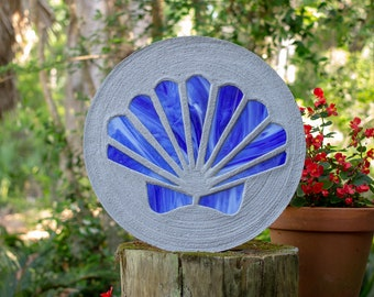 Blue Scallop Shell Stained Glass Stepping Stone #872