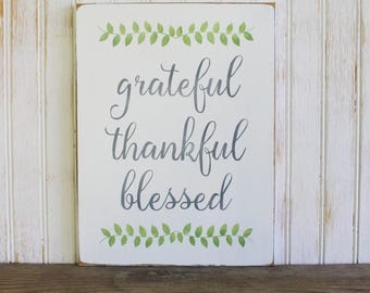 Grateful Thankful Blessed Sign Thanksgiving Family Wall Art Signs with Sayings Custom Sign