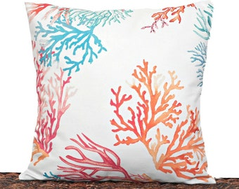 Sea Coral Pillow Cover Cushion Coastal Blue Turquoise Orange Pink Beige Beach Decor Repurposed Decorative 16x16
