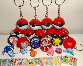 10 Pokeball keychains W/ Pokemon Mini Figures and Stickers - 10 Keychains + 10 Figures + 20 Stickers - Party Favors - Birthday Party -