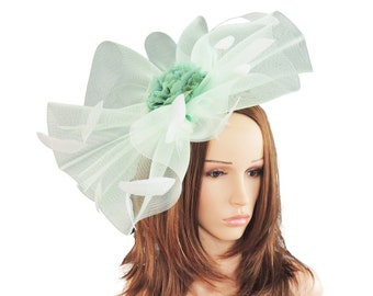 Mint Green Jade Fascinator Hat for Weddings, Races, and Special Events With Headband