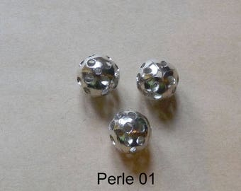 Round Pearl shiny silver metal, various patterns