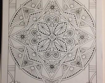 Botanical Flowers Ornamental #7, Hand Drawn Original Art, Decorative Design, Digital, PDF, Adult Coloring Page - Instant Download