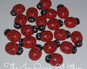 Free shipping!!! Red wooden ladybug magnets (set of 10)