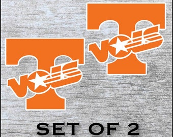 """Tennessee Volunteers Sticker Decal Vinyl  SET OF 2 (12"""", 17"""") Cornhole Car Truck Any Flat Surface Wrap"""