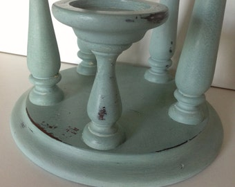 Wood 5 tier candle holder in Annie Sloan Duck Egg  Blue