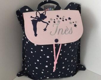 Sac à dos enfant, personnalisé (prénom, motif) taille 2/3 ans, motif fée, maternelle, crèche, école, sac personnalisable, sac bébé