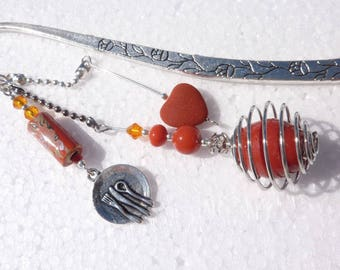 "Large bookmark silver jewel beads ""greed"""