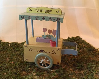 Miniature Flower Cart Wooden/Hand painted