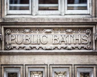 Bathroom Decor, Bathroom Art, Vintage Bathroom Print or Canvas Art, Public Baths Sign, London Print, Black and White, Grey, Sepia, Bath Art.