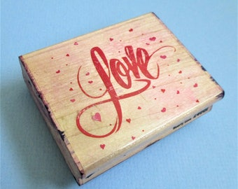 Large Love Stamp with Tiny Hearts Calligraphy Paper Craft Rubber Stamp Wood Mount Destash DIY Card Making Anniversary Shower Wedding Invite