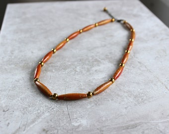 SALE 30% OFF - Rust & Gold Statement Necklace