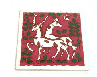 Wheeling Pottery Tile with Deer Design