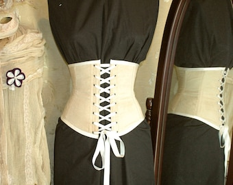 Cream antiqued cotton front lacing corset MADE TO MEASURE