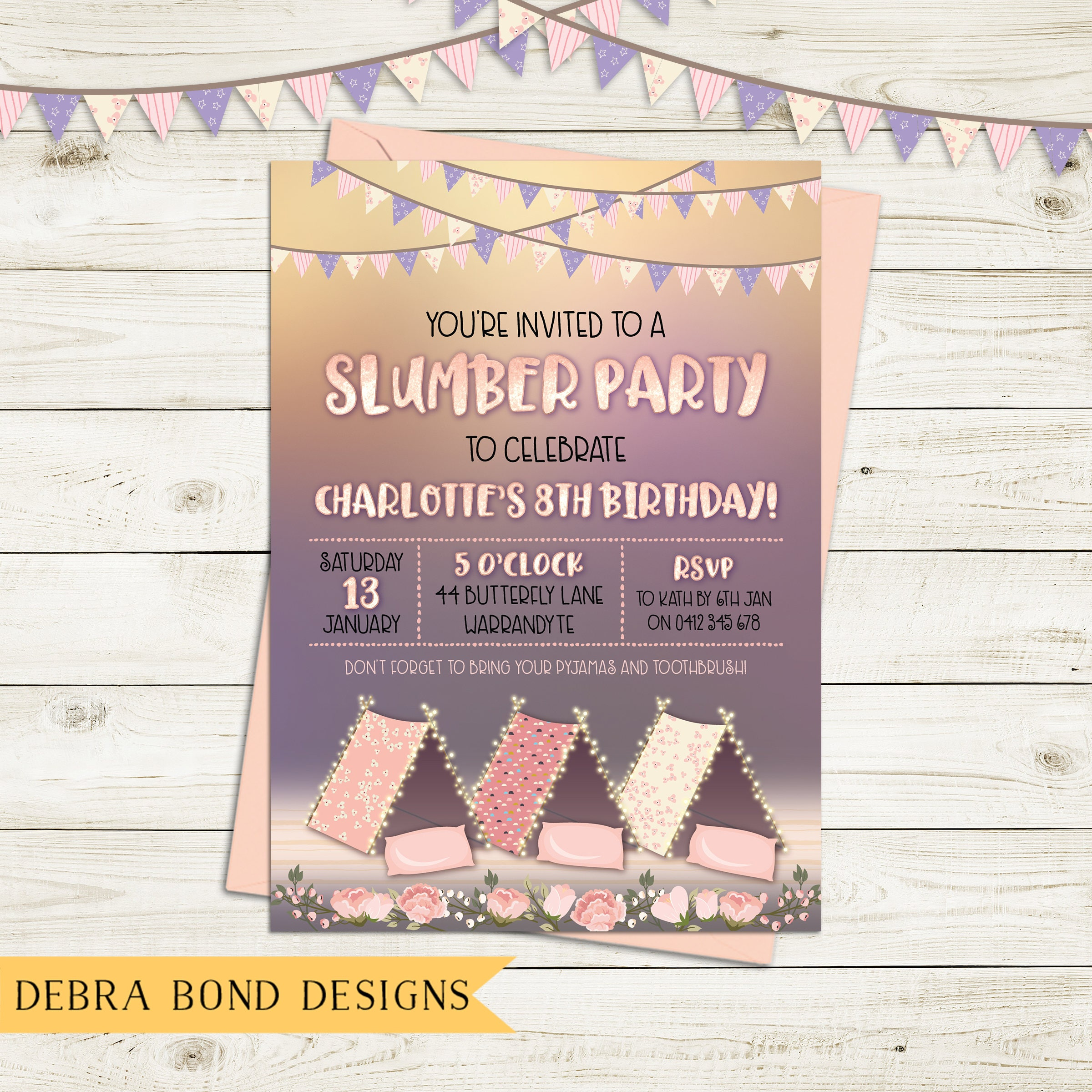 Slumber Party Invitation Sleepover Birthday Invitation