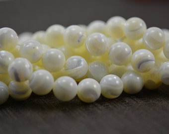 white mother of pearl beads - white shell beads - round shell beads - MOP beads supplies - wholes shell beads - 12mm shell  beads -15inch