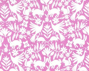 It's a Wildlife in Rose from the Happy Birds Collection by Michael Miller Fabrics, Bird Fabric, Squirrel, Bunnies