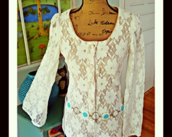 GrOoVy Crochet Romper ~ Bell Sleeves ~ 60's 70's ~ Hippie ~ Boho~Wedding ~ Hot Pants ~ Mod- Sexy  ~Jumpsuit~ Comes with Belt ~ Med