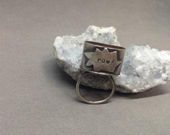 SALE! Pow ring, super hero ring, comic book ring, statement ring, silver kapow ring, red resin ring, cocktail ring, orange Pow ring