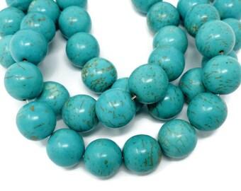 Blue Turquoise Magnesite - 14mm Round Bead - 14 beads - Half Strand - cyan - sky blue