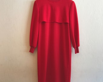 RED vintage 2 tier mock turtleneck MOD dress by Caron, made in Chicage USA! 8