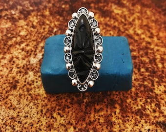 Vintage Carved Black Onyx Head Mexico 925 Ring