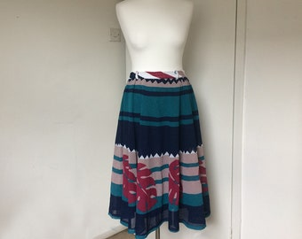 Vintage skirt, 70's Midi skirt full circle silhouette, Boho skirt, Palm print skirt, 1970's clothing