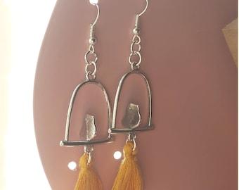 Swing bird and mustard yellow tassel earrings