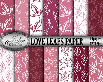 Floral digital paper Leafs digital paper pink floral backgrounds Marsala paper digital foliage paper leaves digital paper floral pattern