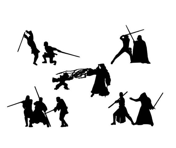 Starwars Jedi VS Sith Die Cut Out Silhouette 5 topper Shapes.