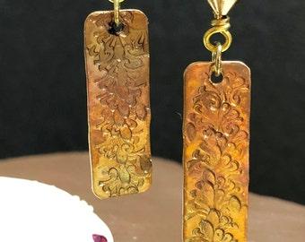 Textured Brass Earrings, Heat Colored Earrings, Stamped Earrings, Earthtone Earrings, Metal Earrings, Women's Earrings, Gift for her
