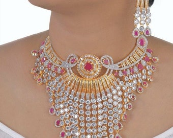 Indian CZ AD Gold & Silver Bollywood Fashion Necklace Bridal Ethnic Jewelry set 56