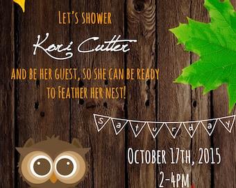 Autumn Owl // Baby Shower Invitation - Printable