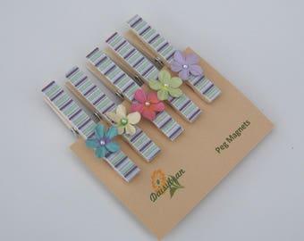 Pretty peg magnets, magnetic pegs, decorative fridge magnets, floral & stripe,  handmade