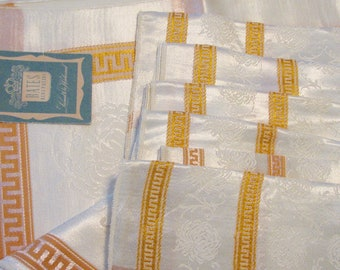 1950s Tablecloth Set Bates 6 Napkins Yellow Gold NOS Greek Key Crysanthemums