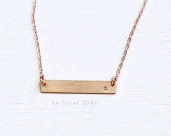 Dainty Rose Gold Necklace, Rose Gold Initial Necklace, Personalized Necklace, Gift for Her, Custom Name Necklace, Personalized Bar Necklace