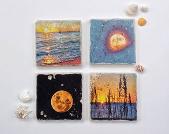Travertine Photo Coasters. Set of 4. Moons and Suns. Original images manually transferred to stone tile.