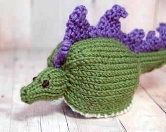 Stegosaurus Knit Toy, Stuffed Stegosaurus, Knit Dinosaur, Dinosaur Egg, Steggie Eggie, Stuffed Dinosaur, Easter Egg, Stuffed Stegosaurus