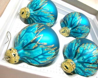 Vintage Christmas glass globe turquoise ornaments old Christbaumkugem made in Germany