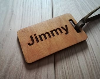 Custom Engraved Wood Luggage Tags with leather tie-ideal for holidays - ID Name Tag Custom Made with Your Name & Address with optional Phone