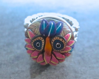 Owl Ring, Woodland Ring, Polymer Clay Ring, Custom Jewelry, Handmade Ring, Millefiori Ring, Pink Ring, Owl Art, Wearable Art